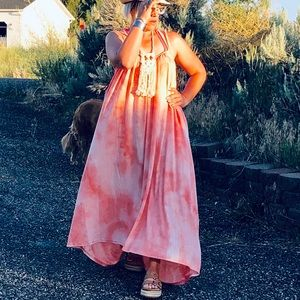 NEW! Coral Tie Dye High Low Ruffle Maxi Dress